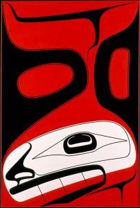 Canoe disjoncteur: Le frère de Vent du Sud , 2010, Robert Davidson (Haïda, Masset, Clan de l'Aigle), b. 1946. Acrylique sur toile, 60 x 40 po. Seattle Art Museum, don de la Fondation MacRae, les arts autochtones des Amériques et du Conseil Océanie, et le Fonds ancien et Native American Art Acquisition (2013,35). © Robert Davidson. Photo: Kenji Nagai.  Site : http://nmai.si.edu/explore/exhibitions/item/?id=936
