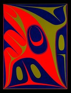 Rapide des oiseaux , 2011, Robert Davidson (Haïda, Masset, Clan de l'Aigle), b. 1946. Sérigraphie, 39 x 30 po. Collection privée. © Robert Davidson. Photo: Kenji Nagai.  Site : http://nmai.si.edu/explore/exhibitions/item/?id=936
