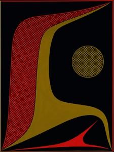 Vert Tri-Neg , 2009, Robert Davidson (Haïda, Masset, Clan de l'Aigle), b. 1946. Acrylique sur toile, 40 x 30 po. Collection privée, courtoisie Kinsman Robinson Galleries. © Robert Davidson. Photo: Kenji Nagai.  Site : http://nmai.si.edu/explore/exhibitions/item/?id=936