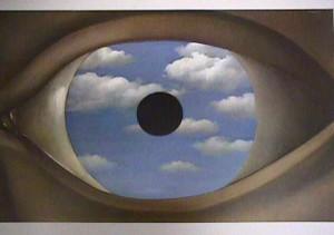Le faux miroir, René Magritte, huile sur toile, 54 cm x 81 cm Site : http://lecoffreauximages.centerblog.net/rub-peintures-de-rene-magritte-.html?ii=1