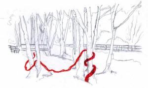 Le ruisseau de la dollee, esquisses préparatoires, Site : http://www.zonevert.ca/christine-juillard/projet/tisser-des-liens
