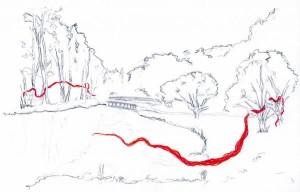 Parc du vallon de la dollee, esquisses préparatoires, Site : http://www.zonevert.ca/christine-juillard/projet/tisser-des-liens