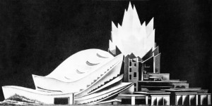 Hans and Wassili Luckhardt's Concert Hall 1948 © The Unbuilt Berlin Site : http://www.archdaily.com/71940/the-unbuilt-berlin/